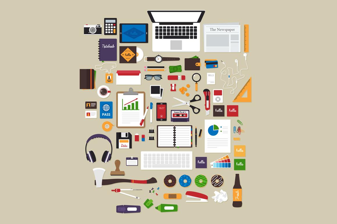 flat workspace tools vector