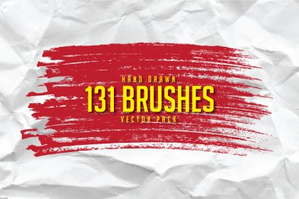 131 Free Hand Drawn Brushes Vector Pack