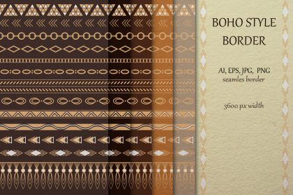 Boho style tribal border collection