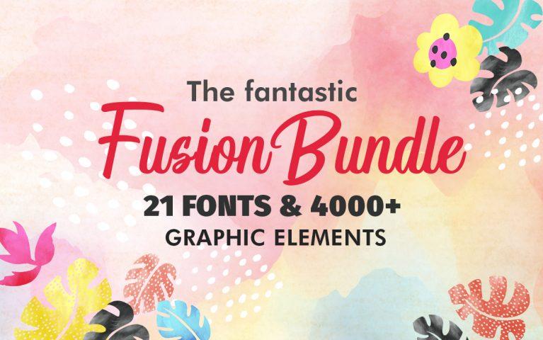 The Fantastic Fusion Bundle – 21 Fonts & 4000+ Graphic Elements