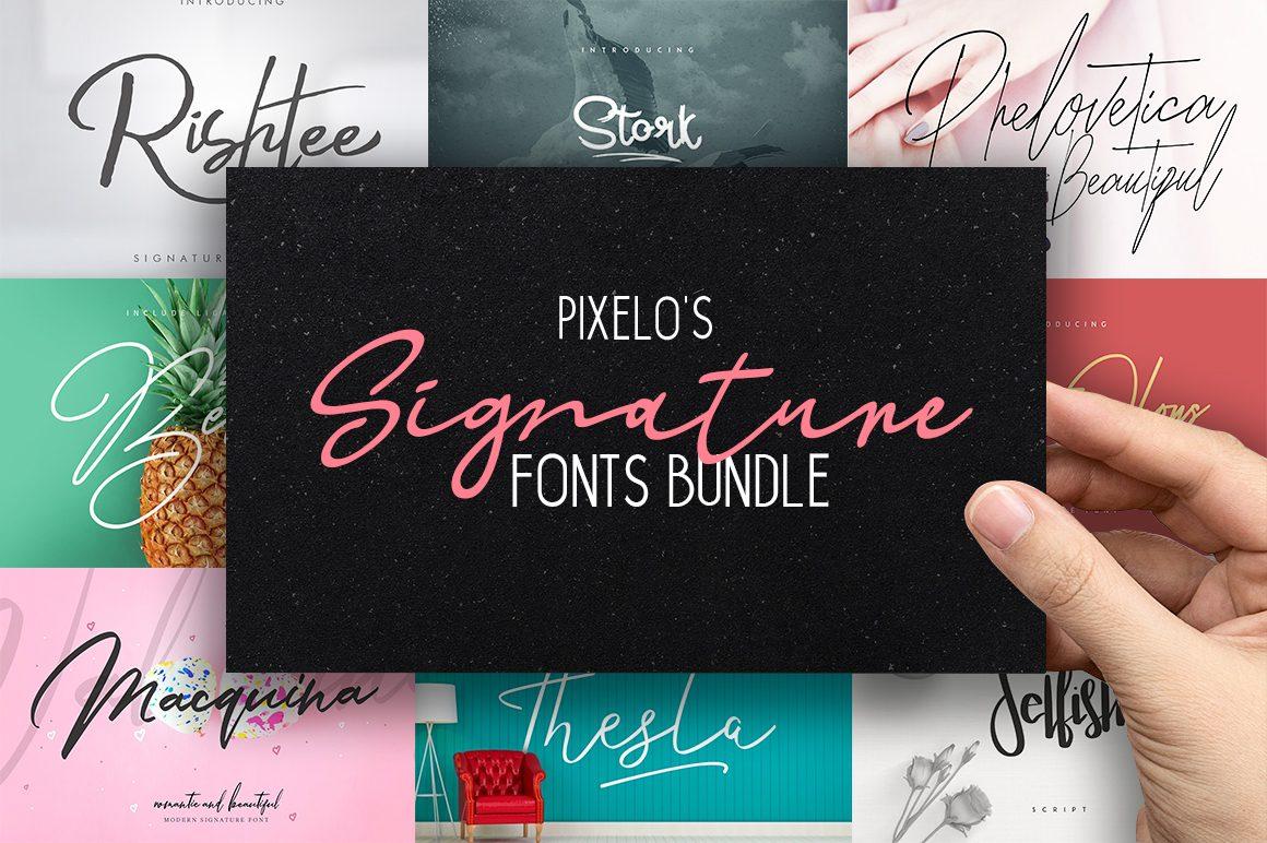 Pixelo's Signature Fonts Bundle